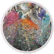 Dance Of The Muses Round Beach Towel