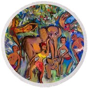 Dance With Elephants  Round Beach Towel