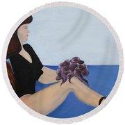 Round Beach Towel featuring the painting Dancer With Calla Lillies by Jolanta Anna Karolska