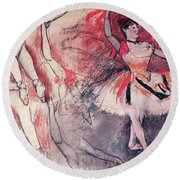 Dancer With Tambourine Or Spanish Dancer Round Beach Towel