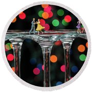 Dancers On Wine Glasses Round Beach Towel