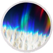 Round Beach Towel featuring the photograph Dancing At The North Pole by Greg Collins