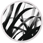 Dancing Bamboo Black And White Round Beach Towel