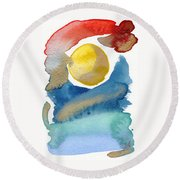 Round Beach Towel featuring the painting Dancing by Bee-Bee Deigner