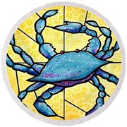 Dancing Blue Crab 4 Round Beach Towel