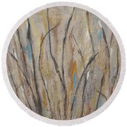 Dancing Cattails I Round Beach Towel