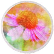 Dancing Coneflower Abstract Round Beach Towel