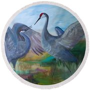 Dancing Cranes Round Beach Towel
