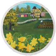 Round Beach Towel featuring the painting Dancing Daffodils by Virginia Coyle