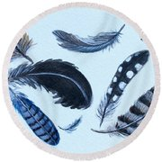 Dancing Feathers Round Beach Towel by Elizabeth Robinette Tyndall