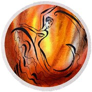 Dancing Fire I Round Beach Towel
