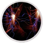 Round Beach Towel featuring the photograph Dancing Fireworks #0707 by Barbara Tristan