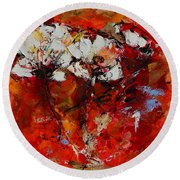Round Beach Towel featuring the painting Dancing Flowers by Elise Palmigiani