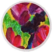 Round Beach Towel featuring the painting Dancing Flowers by Joan Reese