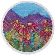 Dancing Flowers Round Beach Towel by Tanielle Childers
