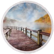 Round Beach Towel featuring the photograph Dancing Fog At The Lake by Debra and Dave Vanderlaan