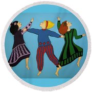 Dancing For Joy Round Beach Towel