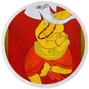 Dancing Ganesha Round Beach Towel