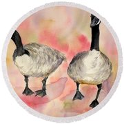 Dancing Geese Round Beach Towel by Vicki  Housel