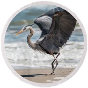 Dancing Heron #2/3 Round Beach Towel