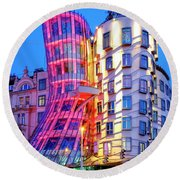 Round Beach Towel featuring the photograph Dancing House by Fabrizio Troiani