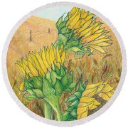 Dancing In The Breeze  Round Beach Towel by Vicki  Housel