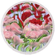 Round Beach Towel featuring the painting Dancing In The Garden by David Dehner