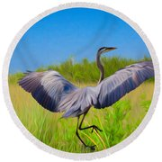 Dancing In The Glades Round Beach Towel