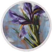 Dancing Iris Round Beach Towel
