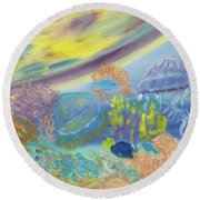 Dancing Jellies Round Beach Towel by Meryl Goudey