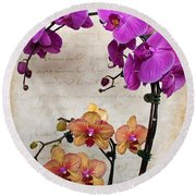 Dancing Orchids Round Beach Towel