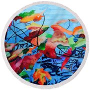 Round Beach Towel featuring the painting Dancing Over Water by Patti Ferron