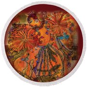 Dancing Shiva Round Beach Towel