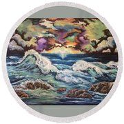Dancing Skies 3 Round Beach Towel
