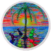 Round Beach Towel featuring the painting Dancing Snowman by Viktor Lazarev