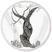 Dancing Tree Round Beach Towel