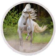 Dancing White Horse Round Beach Towel