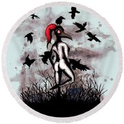 Dancing With Crows Round Beach Towel
