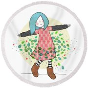 Dancing With Leaves Round Beach Towel by Carolina Parada