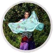 Dancing With Scarves Round Beach Towel by Kathy Baccari