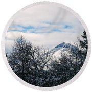 Dancing Woman Mountain In The Winter Round Beach Towel