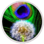 Dandelion And Peacock Feather Round Beach Towel