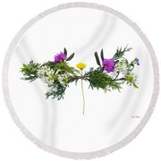 Dandelion Balancing Act Round Beach Towel by Lise Winne
