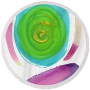 Round Beach Towel featuring the painting Dandelion by Bee-Bee Deigner