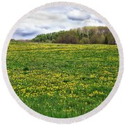 Dandelion Field With Barn Round Beach Towel