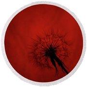 Dandelion Silhouette On Red Textured Background Round Beach Towel