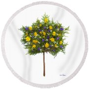 Dandelion Violet Tree Round Beach Towel