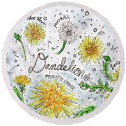 Round Beach Towel featuring the painting Dandelions by Monique Faella