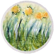 Dandelions On The Grass Round Beach Towel