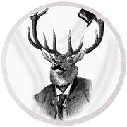Dandy Deer Portrait Round Beach Towel